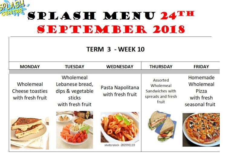 Splash Menu 24th September