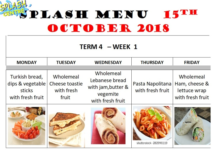 Menu week 1 term 4